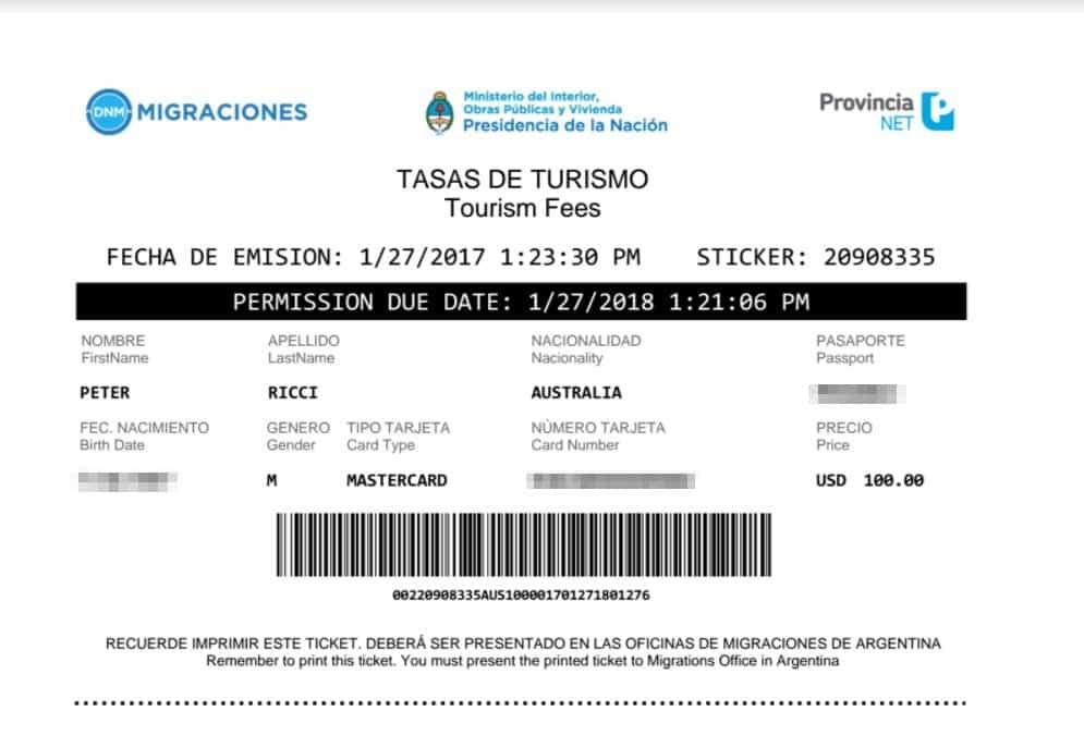 Tourism Card Argentina